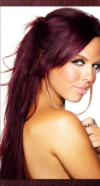 Great Lengths Extensions And Red Violet Plum Hair Color By