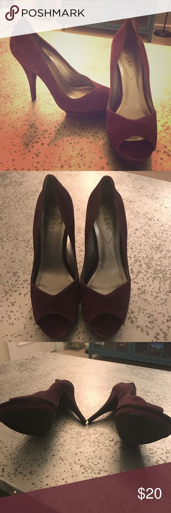 """Guess Purple Suede Platform Pumps 8.5 Gorgeous purple peep toe suede pumps! 8.5, about a 4"""" heel, these pumps will rock your night out with the gals! Fits true to size. Message with any questions! Guess Shoes Heels"""