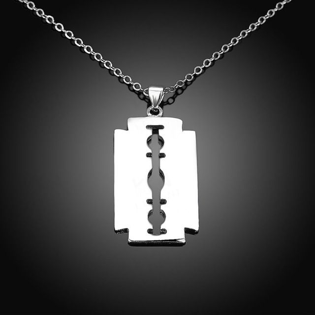 No Fade Stainless Steel Razor Blades Pendant Necklaces Men Jewelry Shaver Shape Necklaces & Pendant With Link Chain