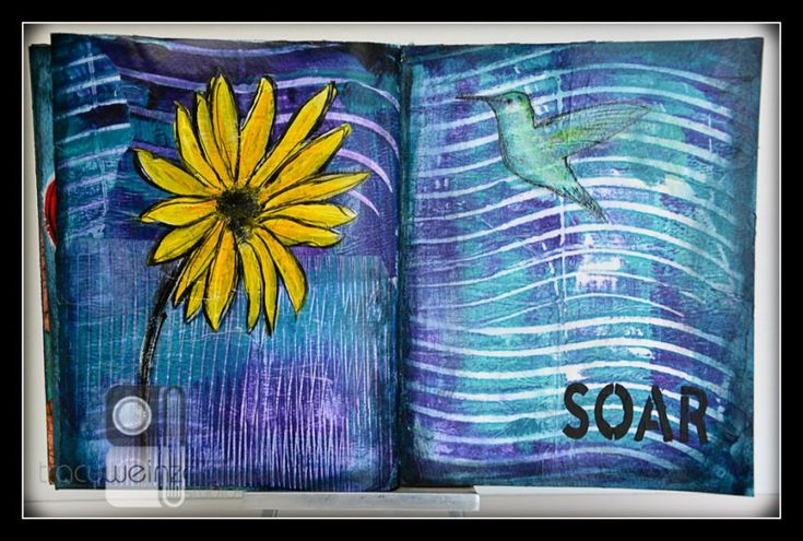 """Totally Tracy uses Gelli® Printing Tools! """"Today's exercise in the art journal was about creating my own backgrounds with Gelli Arts NEW Edge tools!"""""""