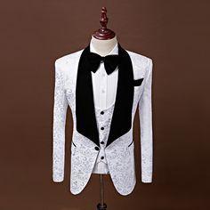 2017 Shawl Lapel Slim Fit Groom Tuxedos Red/White/Black Men Suits Latest Coat Pant Designs Men Wedding Suits For Men Prom Tuxedo