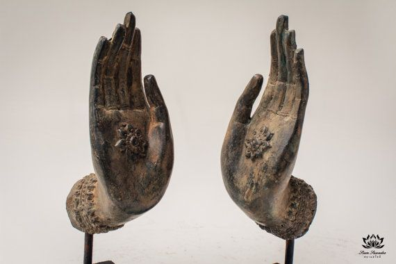Bronze Pair of Buddha Hand statues. Handmade in Thailand. Offering blessings and protection. Perfect for Yoga or Mediation. More Info... by SiamSawadee, $119.99