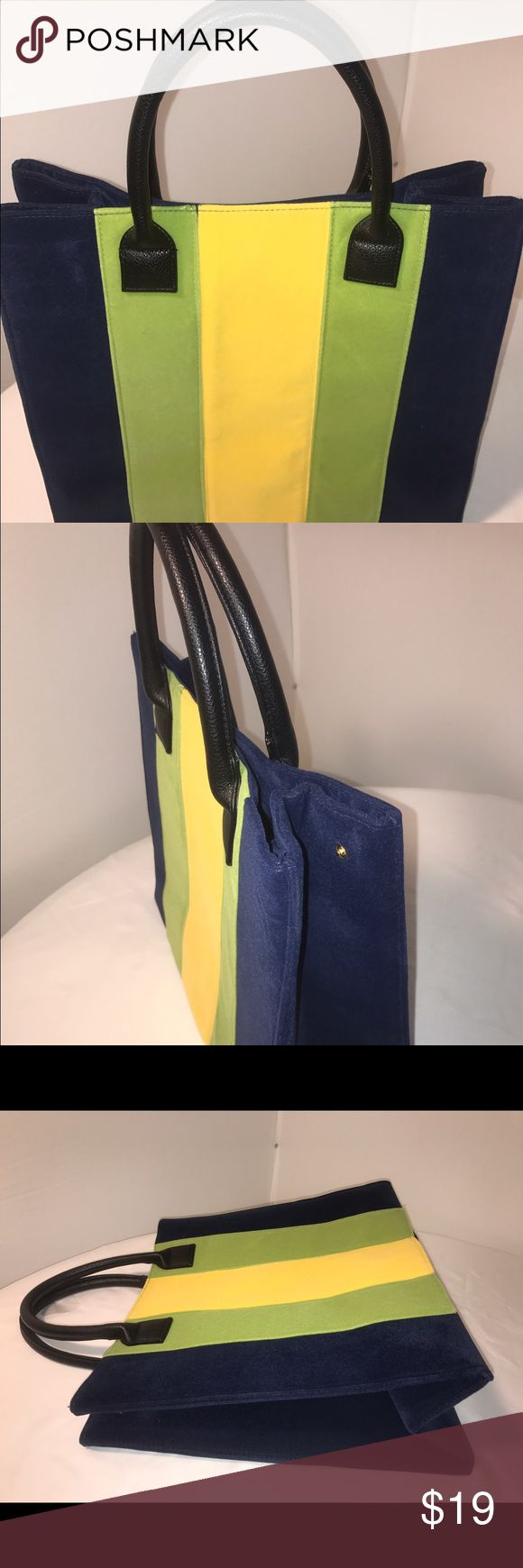 """Lulu Dharma Bag Mid size As seen on tv - Good Morning America  Medium size tote with velour feel to it.  Lulu Dharma Purses & hand bags Blue , green & yellow  It was ordered off the good morning America website as a Christmas present for me I do not need it I have too many bags already.  No tags- never used  Dimensions-  14""""x15""""x7"""" lulu dharma Bags Totes"""
