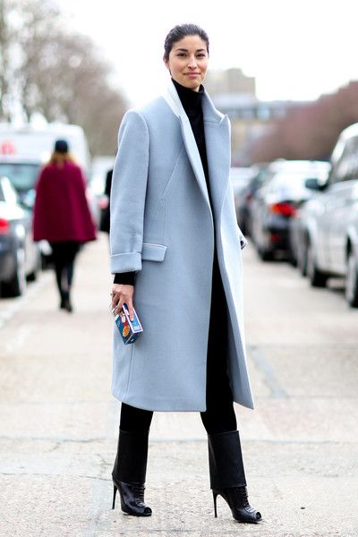 How To Wear Pastels // sharp tailored icy blue coat #streetstyle