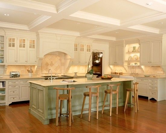 Traditional Kitchen With Charming Off White Kitchen Cabinets And Light  Green Kitchen Island | Susanu0027s Board | Pinterest | Light Green Kitchen,  Green Kitchen ...