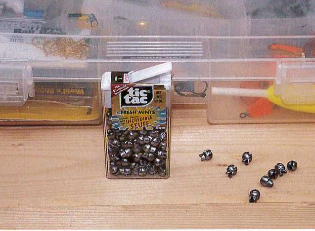 """""""Put sinkers in old Tic-Tac containers. The flip-top aids in dispensing them."""" - Tip from North American Fishing Club Member Owen Bucher from Harleysville, PA"""