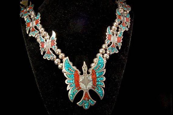 Vintage Navajo Thunder birds Turquoise Coral Squash Blossom