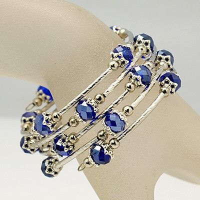 Fashion Wrap Bracelet, with Abacus Glass Beads, Tibetan Style Bead Caps, Brass Tube Beads and Steel Memory Wire, Blue, Inner Diameter: 55mm