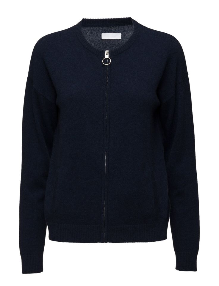 2nd Mila (Navy Blazer) - DAY BIRGER ET MIKKELSEN Front zip closure Crew neckline Ribbed collar, cuffs and hemline Softer, warmer, and more lightweight than traditional wool, cashmere adds luxury to your winter wardrobe. Classic Elegant Simple Jersey Knitwear Winter