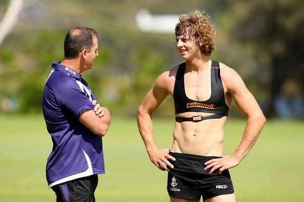 Dockers coach Ross Lyon talks with Nathan Fyfe during a Fremantle Dockers AFL pre-season training session at Tompkins Park on December 2, 20...
