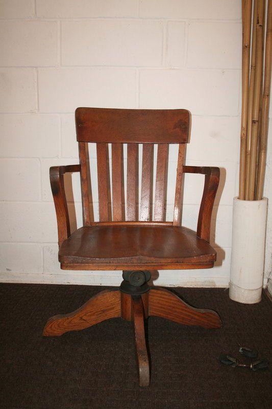 Vintage 1930s Teacher S Desk Chair Solid Wood Long