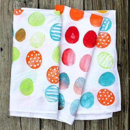#Easter Egg Potato Print Tea Towels