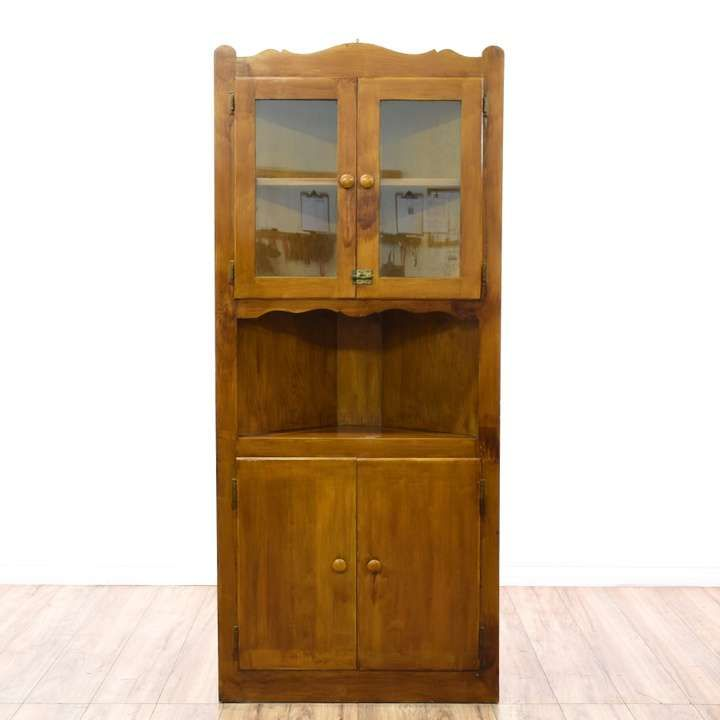 Country Farmhouse Corner Display Cabinet - Loveseat is the best way to buy vintage home furniture in San Diego & Los Angeles. Shabby Chic, Vintage, Mid Century Modern and much more.