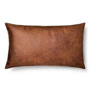 Two please!  Throw Pillow Faux Leather Oversized Oblong Brown - Threshold™ : Target