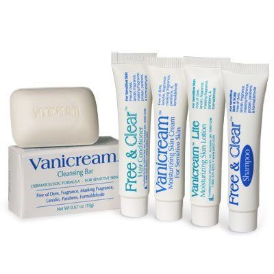 Vanicream Bath & Body Trial Pack by PHARMACEUTICAL SPECIALTIES INC. $2.79. Vanicream Bath & Body Trial Pack - Here's An Inexpensive Way To Try These Great Products! Perfect for air travel and the new size restrictions on liquids, this pack includes .25 oz. samples (shampoo is .5 oz.) of the following items: *Free & Clear Shampoo *Free & Clear Conditioner *Vanicream Cleansing Bar *Vanicream Skin Cream *Vanicream Lite Lotion. These products are characterized by what they DON...