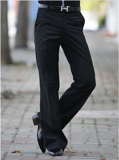New Men's Flared trousers Formal pants Bell Bottom Pant Dance suit pants Size 28-34 Black Free shipping