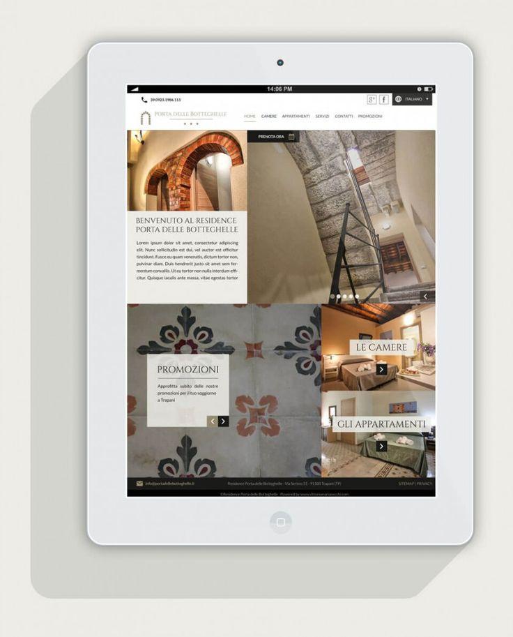 Vista del sito web del residence porta delle botteghelle su un tablet in posizione portrait