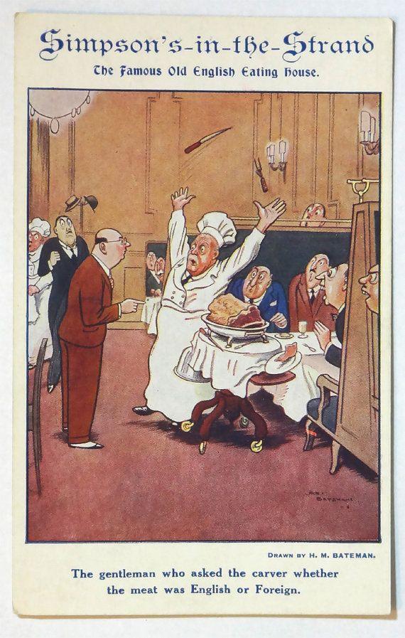 Simpson's-in-the-Strand Restaurant Postcard, London England, Great Britain, British, Europe European, Advertising Advertisement, Comic Humor Ephemera by OakwoodView