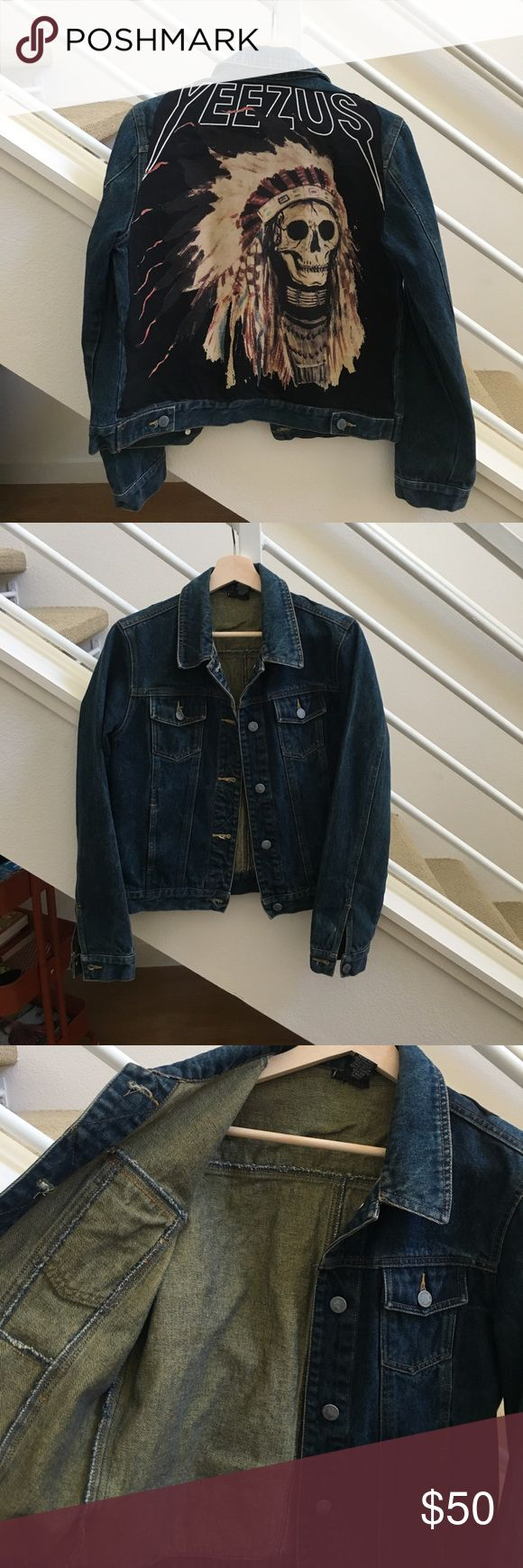 Yeezus Denim jacket NOT official tour merch! Super cool buy at a market. Worn 3xs. Fits size 6-8 women's though it says Large in tag. No stains. Jackets & Coats Jean Jackets