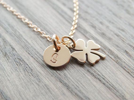 Four Leaf Clover Necklace Gold Shamrock by MyTinyStarShining