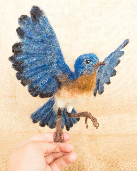 Sonny the Eastern Bluebird: Needle felted animal sculpture
