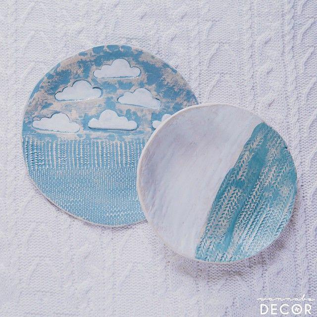 Handmade ceramic plates with clouds  #air #organic #cotton #ceramics #decor