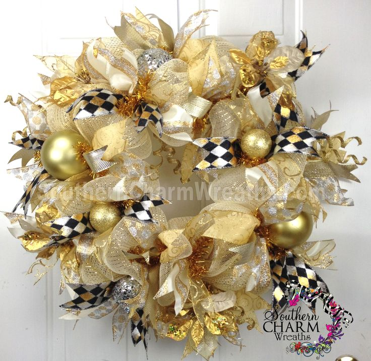 Deco Mesh CHRISTMAS Wreath For Door or Wall Ivory, Gold, Silver Black Checkered by www.southerncharmwreaths.com $97