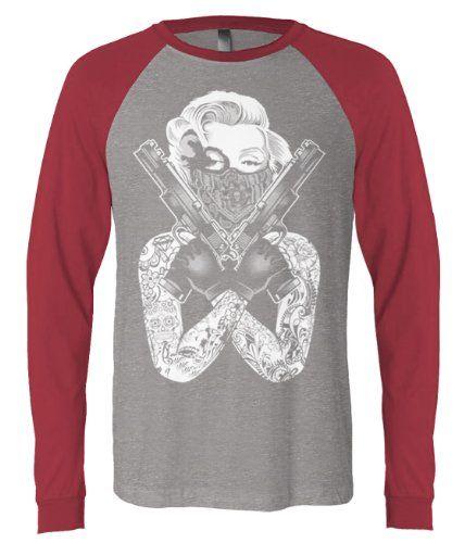 (Cybertela) Loaded Marilyn Monroe Mens Long Sleeve Baseball T-shirt Funny Fantasy Tee (Deep Heather/Cardinal, Medium)