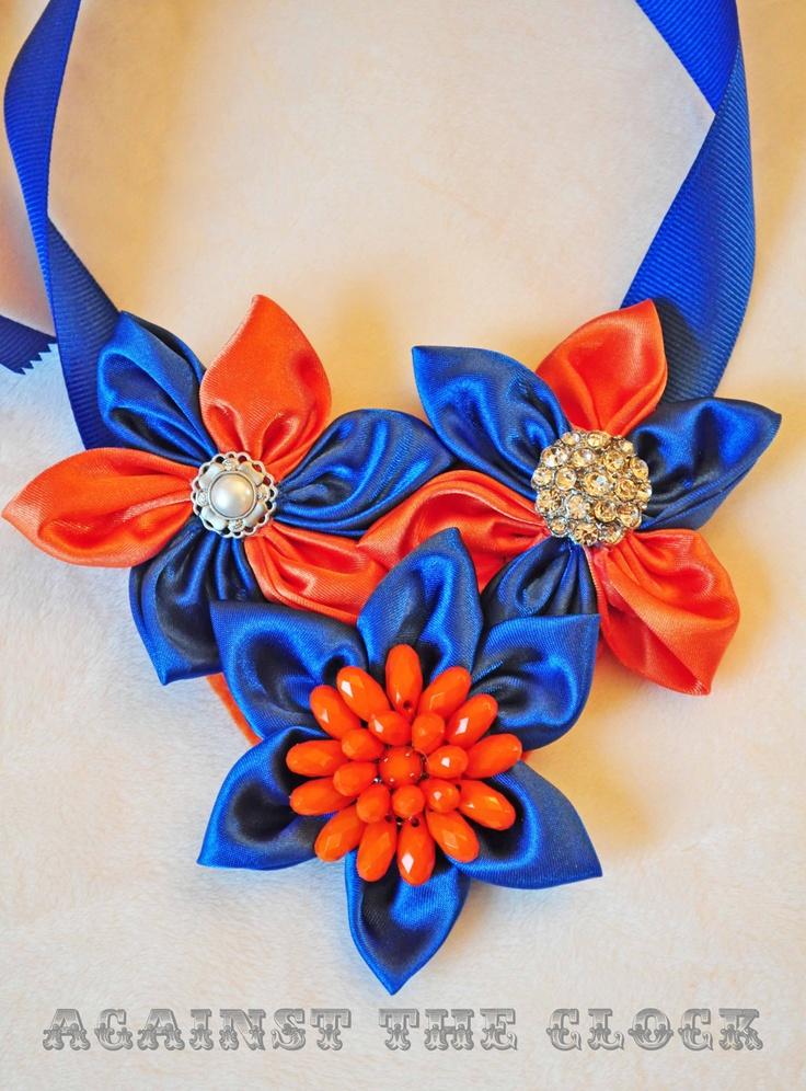 Orange and blue university style, collegiate necklace, auburn university, florida gators.