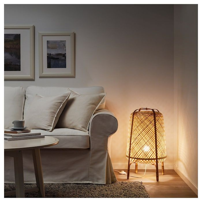 Knixhult Floor Lamp With Led Bulb Bamboo Ikea Bamboo Floor Lamp Bamboo Lamp Floor Lamp