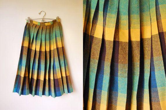 vintage 1970s pleated wool high-waisted midi by starseedvintage