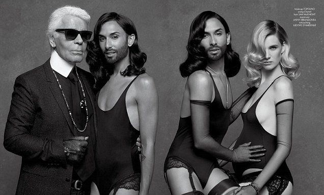 Conchita Wurst  in lingerie shoot with Karl Lagerfeld