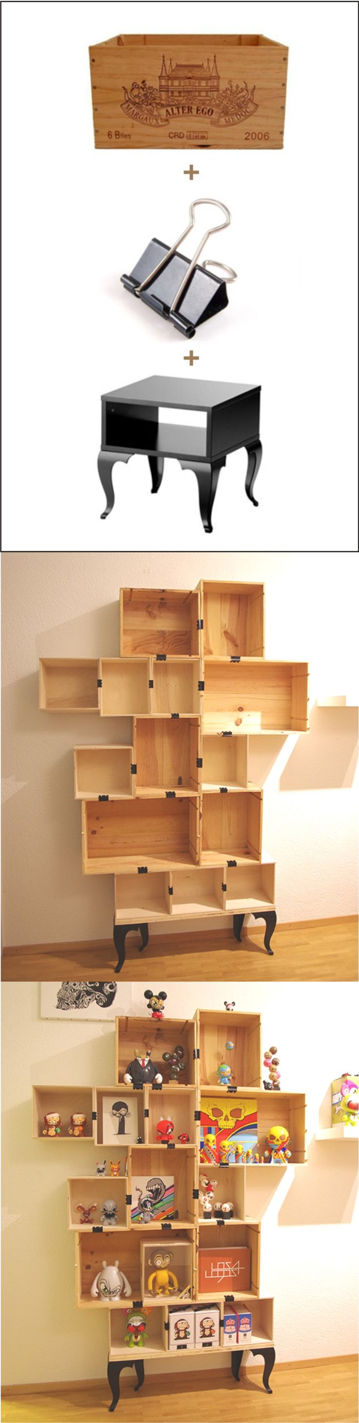 Ingenious shelf made with wine boxes / Via http://www.2much.ch/