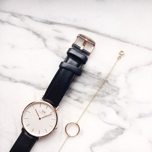 Classic watch and delicate bracelet