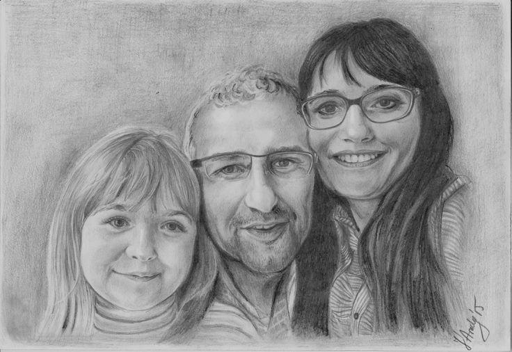 Family portrait pencils drawing