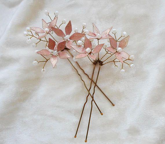 Bridal hair pins Wedding hair pins Hand-made flowers Hair