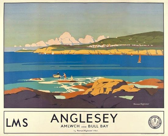 ANGLESEY - c.1930. Original LMS poster. Art by Norman Wilkinson.