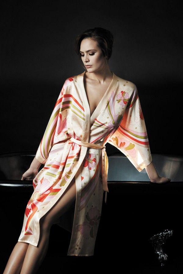 samantha chang hand painted silk kimono