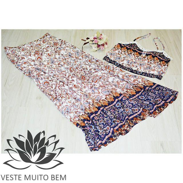 Conjunto Cropped e Saia Longa de Viscose  #vestemuitobem #moda #modafeminina #modaparameninas #estilo #roupas #lookdodia #like4like #roupasfemininas #tendência #beleza #bonita #gata #linda #elegant #elegance