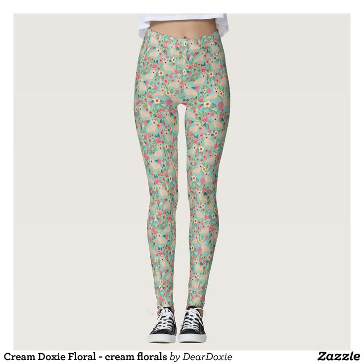 Cream Doxie Floral - cream florals Leggings - Printed #Yoga #Leggings & Running Tights Creative Workout and #Gym #Fashion Designs From International Artists - #pilates #exercise #crossfit #workout #tights #running #sports #design #fashiondesign #designer #fashiondesigner #style #pants