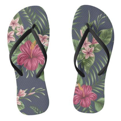 7c56c1d36e37 Red Hibiscus Flower Leaves Dark Background Flip F Flip Flops