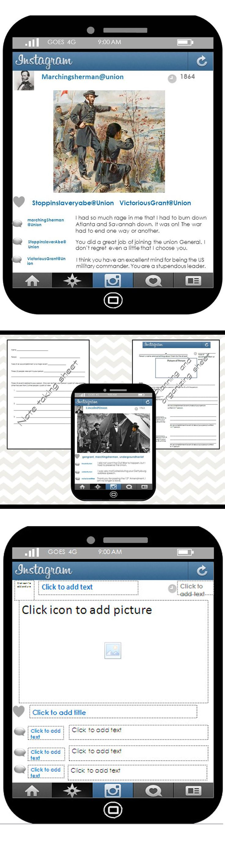 Using the concept of social media is a great way to interest and engage your students. The Instagram and Twitter template allows students to add text and pictures but keeps the design locked so that they won't mistakenly move or delete background.