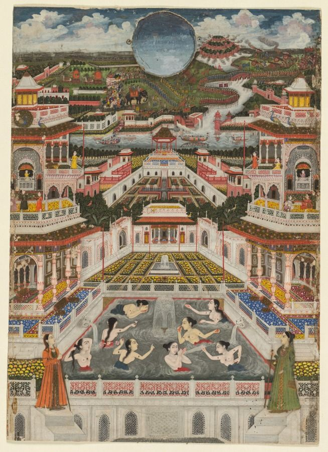 Ladies Bathing before an Architectural Panorama, c. 1765 Fayzullah (Indian) opaque watercolor with gold on paper, Miniature - h:31.70 w:22.80 cm (h:12 7/16 w:8 15/16 inches). Gift in honor of Madeline Neves Clapp; Gift of Mrs. Henry White Cannon by exchange; Bequest of Louise T. Cooper; Leonard C. Hanna Jr. Fund; From the Catherine and Ralph Benkaim Collection 2013.344 | Cleveland Museum of Art