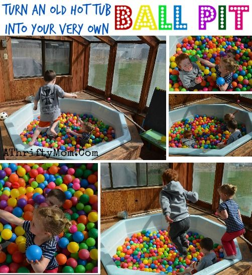 How to make your own ball pit, Turn an old hot tub into your very own BALL PIT for kids #Kids, #Play, #BallPit,: Ball Pits, Diy'S Projects, Ball Pools, Kids, Make Your Own Hot Tubs, Ayden Idea, Toddlers Tasting Idea, Frugal Diy'S, Athriftymom Com Projects