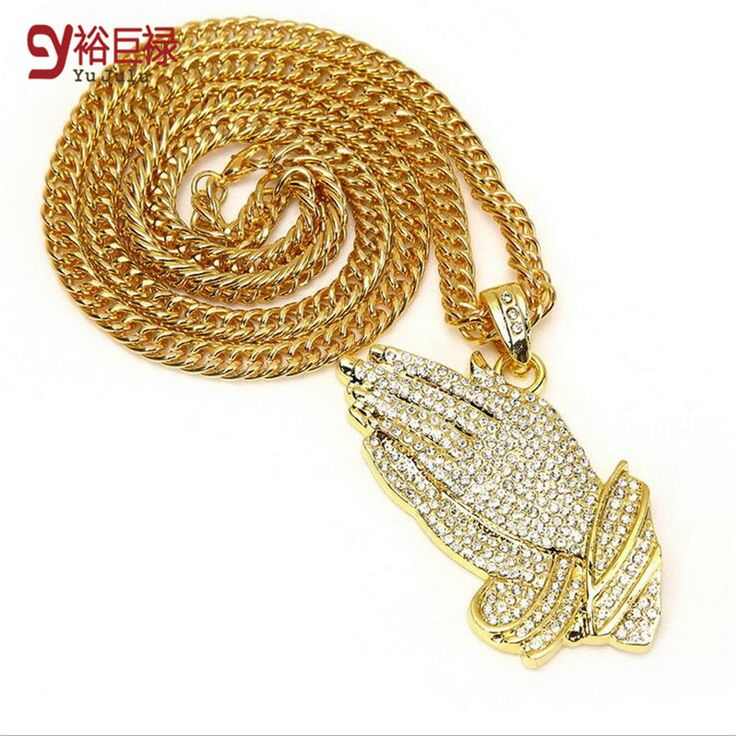 Star with sparkling pendant necklace jewelry Bergamot 2016 New Silver Praying Hands Hiphop Bling Mens  Gold Religous Jewelry