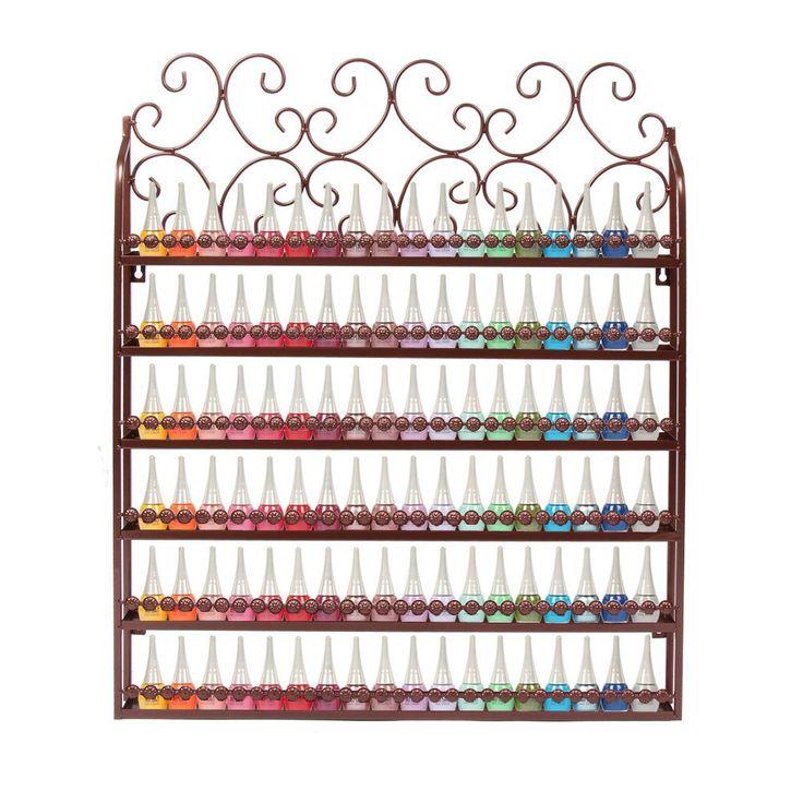 YUDA Metall Wand montierbar 6Etagen Nagellack Rack Organizer Blume Typ Display Rack Weiß: Amazon.de: Küche & Haushalt