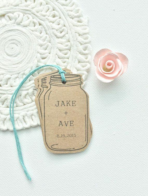 Mason Jar Favor Tags. Custom Rustic Wedding Mason Jar Tags. Bridal Shower Favors. Wedding Favors. Mason Jar Kraft Brown Tags