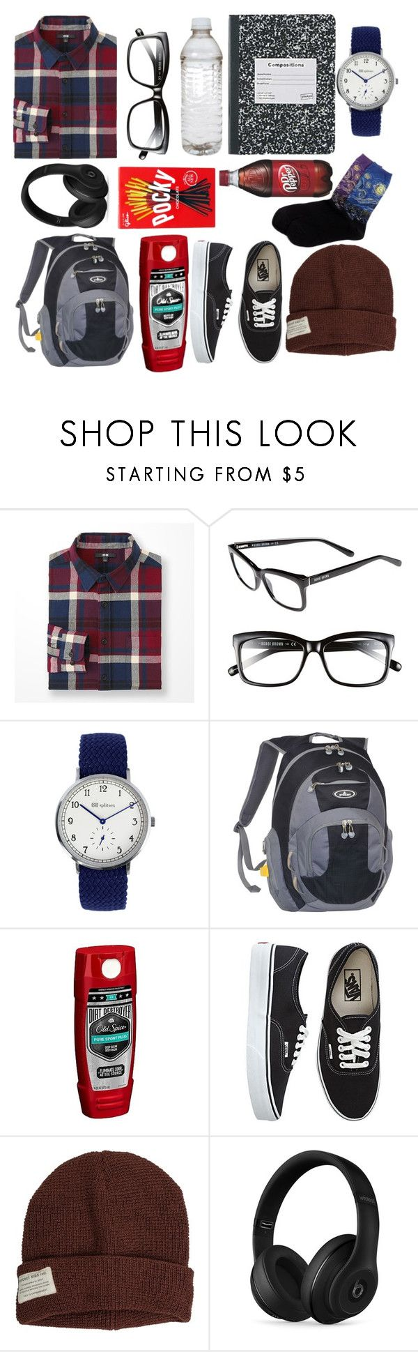 """""""Peter Parker"""" by thatonekidintheroom ❤ liked on Polyvore featuring Uniqlo, Bobbi Brown Cosmetics, Everest, Old Spice, Vans, Krochet Kids, Beats by Dr. Dre, HOT SOX, men's fashion and menswear"""