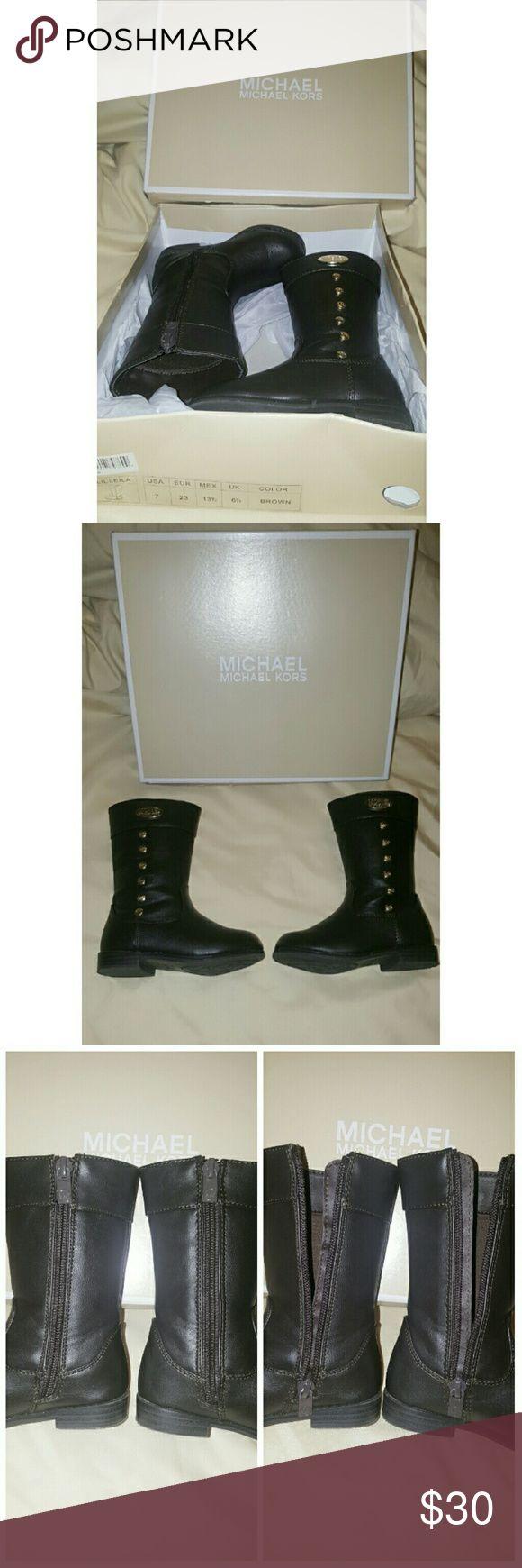 "MK Lil Leila Toddler Boots Michael Kors ""Lil Leila"" Boots Pre-owned (excellent condition) Zipper Closure Michael Kors Shoes"