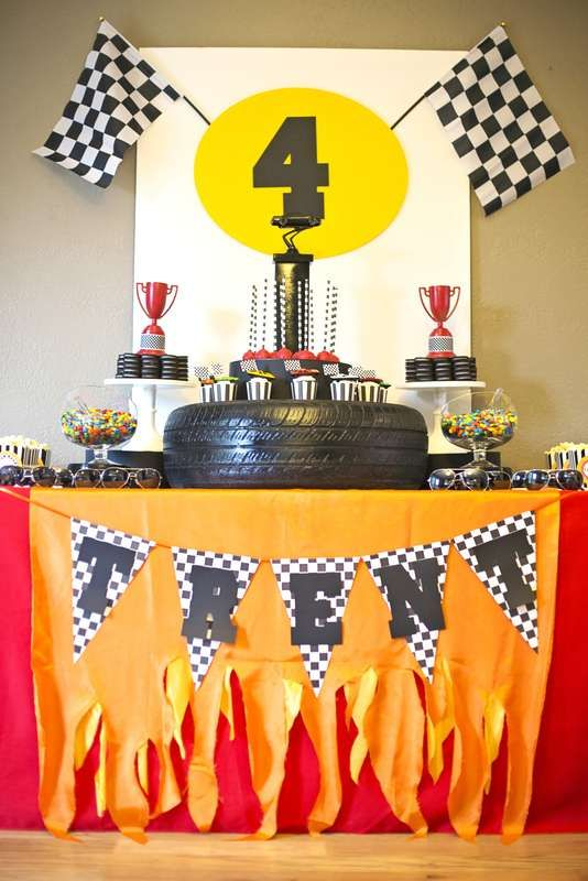 Race car birthday party dessert table! See more party planning ideas at CatchMyParty.com!